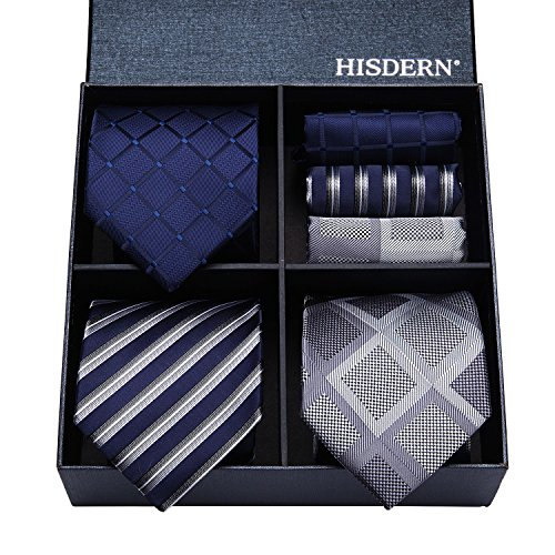HISDERN Lot 3 PCS Classic Men's Tie Set Necktie & Pocket Square Elegant Neck Ties Coll ...