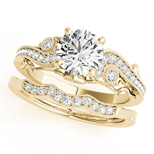 (0.60 Ct. Diamond Engagement Bridal Ring Set 14K Solid Yellow Gold)