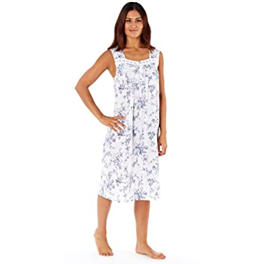 63351976f1 Lady Selena Helena 100% Cotton Floral Print Sleeveless Nightdress - Pink -  Purple 10 to 24  Amazon.co.uk  Clothing