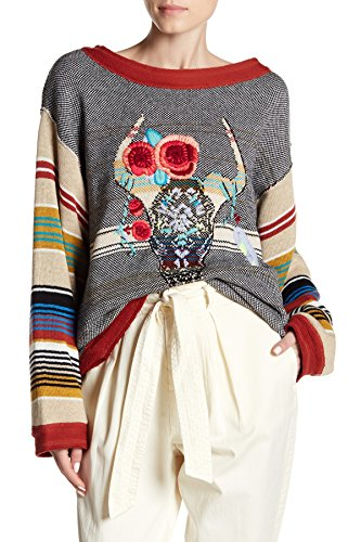 Free People Women's Desert Rose Embroidered Wool Blend Sweater, Multi, Small