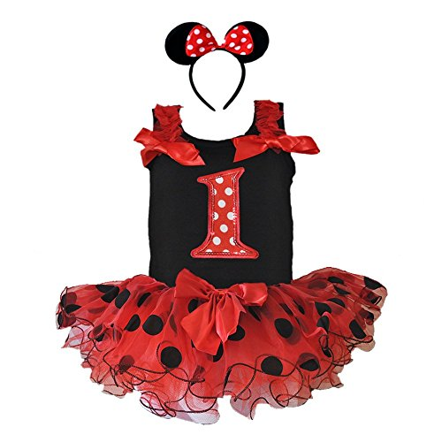 Girth Measurement For Costumes (Birthday Age Number Tank Top, Red/black Polka Dot Tutu, Headband 3 Pcs Set (Age 1 RDB1H))