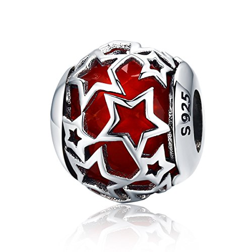 Everbling Shimmering Star Crystal 925 Sterling Silver Bead for European Charm Bracelet (Red)