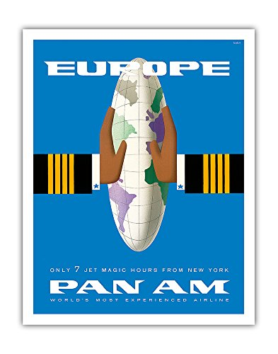 Europe - Only 7 Jet Magic Hours from New York - Pan American World Airways PAN AM - Vintage Airline Travel Poster by Bobri c.1950s - Fine Art Print - 11in x 14in