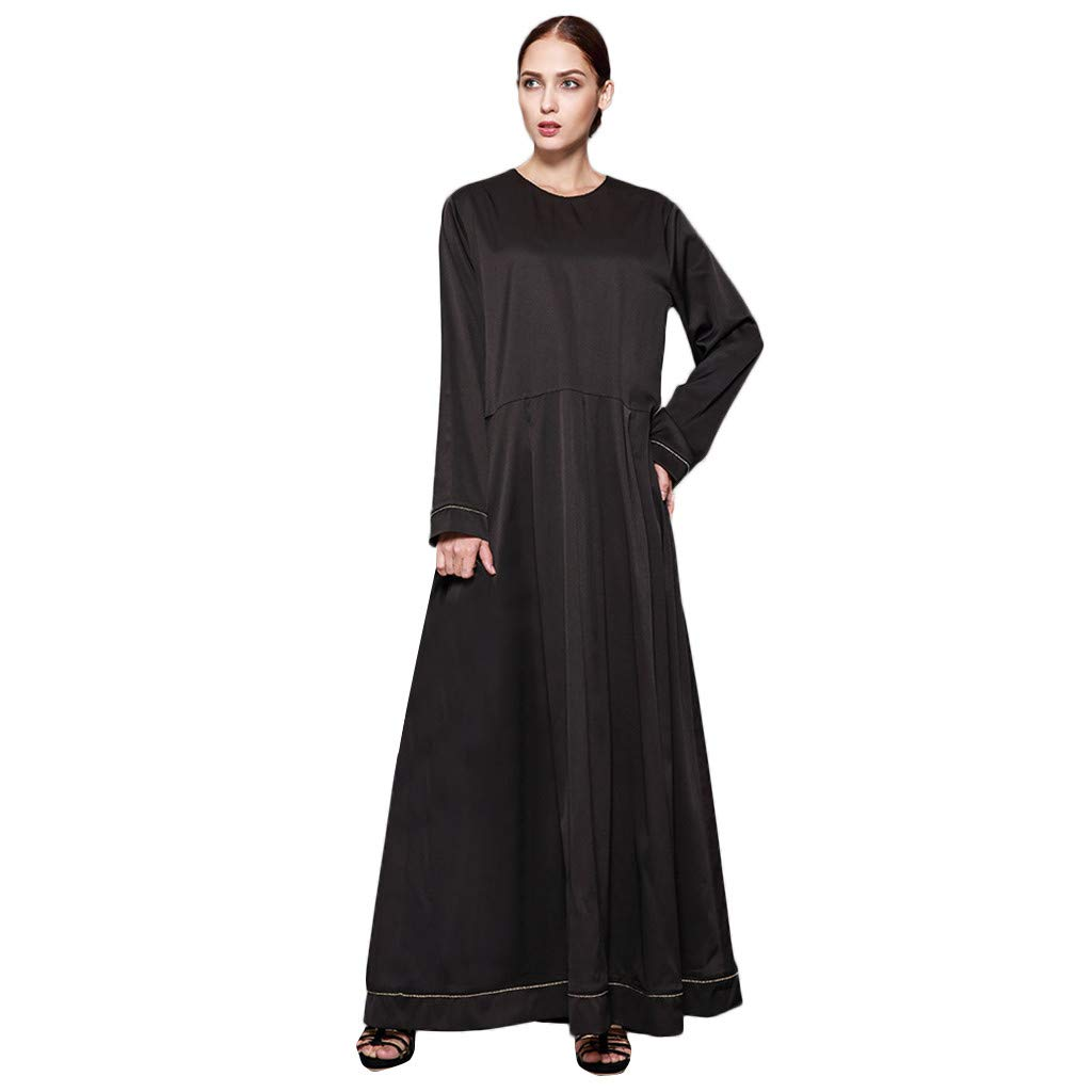 Womens Long Dress,Muslim Islamic Printed Long-Sleeved Loose Swing Dresses Fashion Boutique Kaftan Robes, Womens Long Sleeve V-Neck Cross Over High Slit Cocktail Evening Gown Maxi Dress by Yuege Dress