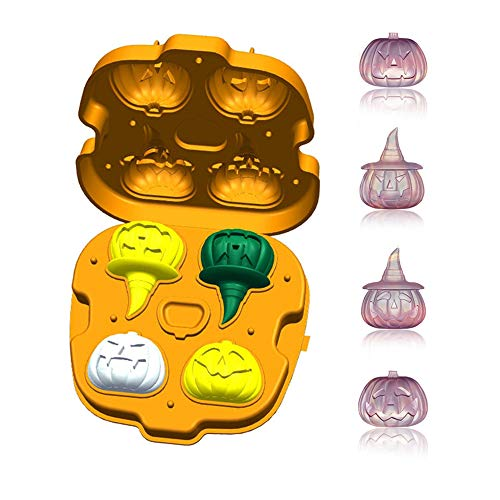 Pumpkin Shaped Ice Trays with Lid for Halloween Party,Silicone Ice Maker Large Cubes 4Pcs, 3D Ice Mould Make Cool Drink Whiskey Wine Cocktail,BPA free