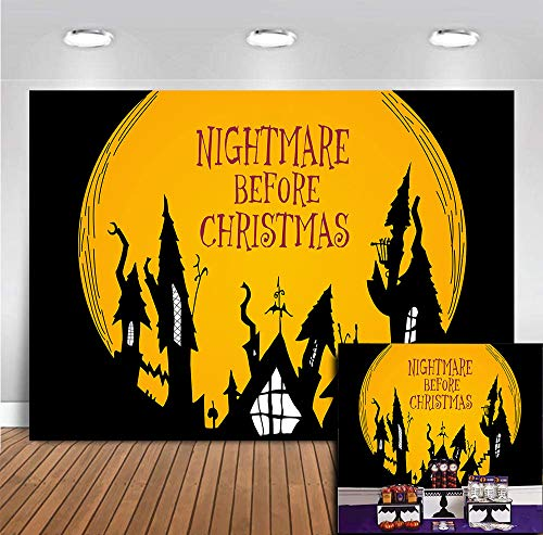 Halloween Horror Nights Backgrounds (Halloween Horror Nights Full Moonlight Ghost Haunted House Photography Backdrop The Nightmare Before Christmas Hallowmas Party Banner Photo Background Vinyl 7x5ft Baby Shower Home Decor Studio)