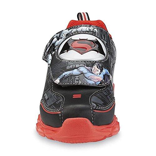 Batman v Superman Kinder Jungen Turnschuhe Blink Licht Schuhe schwarz rot (US12 = EU 30)