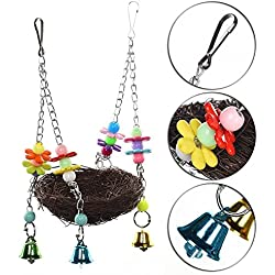 Toptik 7.8 inch Natural Rattan Nest Bird Swing Hanging Toy for Parrot Budgies Parakeet Cockatiels Conure Lovebird Finch Cockatoo Macaw African Greys Cage Perch Stand with Bells