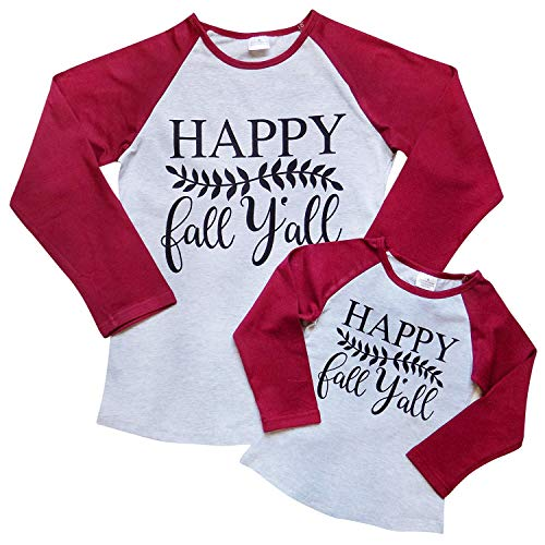 (Mom Mommy & Me Dress, Tunic, T-Shirt - Toddler Girls Teens Moms - Matching Outfits (XS (Child 2T), Happy Fall Burgundy))