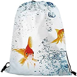 "Aquarium Nice Drawstring Bag,Under the Aquarium Theme Cute Swimming Goldfishes with Vivid Bubbles Image For traveling,17.7""L inches x 14.1""W inches"