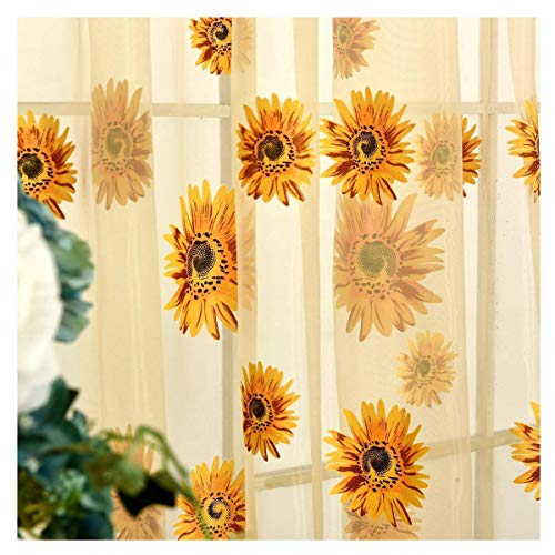 Voile Tulle Door Window Curtain, Elegant Yellow Sunflower Floral Print Window Sheer Gauze Panel Drapes Balcony Curtains, Flower Voile Sheer Curtains Window Treatments, Rod Pocket, 78