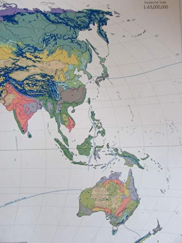 World Vegetation 1959 large attractive vivid color vintage map Winkel