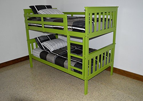 BEST BUNK BEDS FOR KIDS WITH LADDER, Twin Over Twin Bed Bunkbeds, Amish Made in the USA As Quality Matters, Sturdy & Long Lasting Bedroom Furniture for Children (Twin Bunks, LIME GREEN)