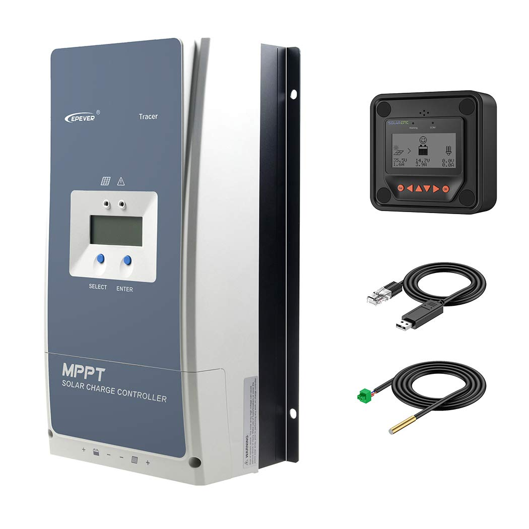 EPEVER MPPT Solar Charge Controller 80A Negative Ground 200V PV Solar Panel Charger with MT50 Remote Meter Temperature Sensor & PC Communication Cable by SolarEpic