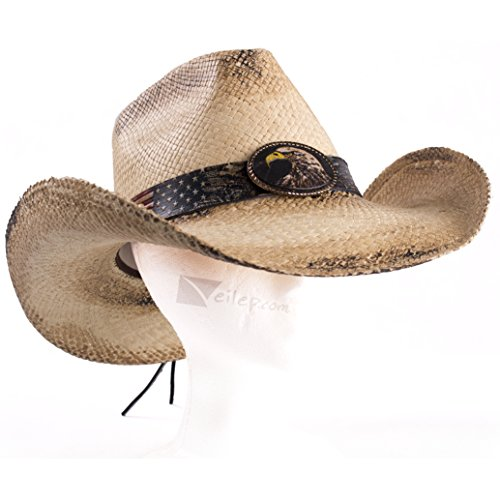 Stampede Panama Straw American Eagle Patriot Pinch Front Cowboy Hat, Natural, Medium 7 Pinch Front Straw