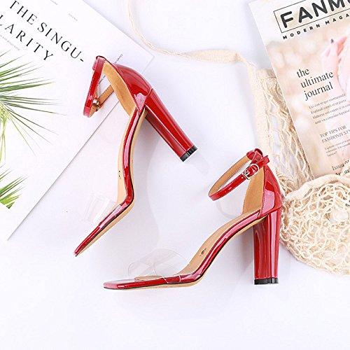 De Grueso Zapatos Moda Transparente Salvaje Zapatos Sandalias con 9 Laca La Alto KPHY Cm de Tacon Hebillas Verano Mujer gules Sexy d4xnw1fY