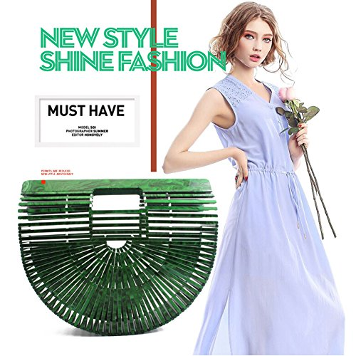 Bags Beach Bag Women Handmade Acrylic Yoome Purses Colors Available Tote Evening Handbag Banquet Bag Knitting White Shape Semicircle Fashion in Clutch 6 qxntwYB0Bd