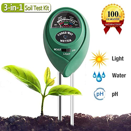 Soil PH Meter,3-in-1 Soil Test Kit for Moisture, Light & PH Test, Indoor/Outdoors Plant Care Soil Tester,for Home and Garden, Farm, Plants, Herbs & Gardening Tools(No Battery Needed) (Round)
