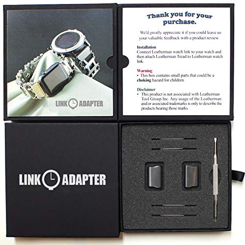 Link- watch adapter compatible with LEATHERMAN TREAD - Black (Lug size 22mm, Black, TREAD)