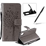 Strap Leather Case for iPhone XR,Bookstyle Magnetic [Grey Solid Color] Stand Flip Case for iPhone XR,Herzzer Premium Elegant [Embossed Butterfly Tree Cat Painted] Fold Wallet Folio Smart Case For iPhone XR + 1 x Black Cellphone Kickstand + 1 x Black Stylus Pen