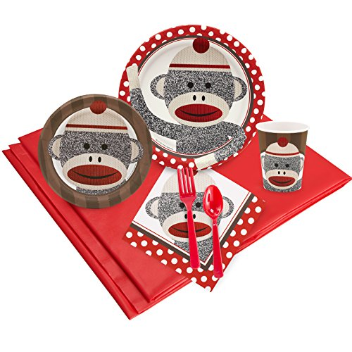 Sock Monkey Party Supplies - Party Pack for - Supplies Sock Monkey