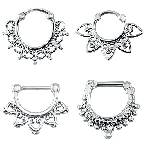 4Pcs Tribe Style Septum Clicker Nose Rings 16g Stainless Steel Post Punk Nose Piercing Jewelry