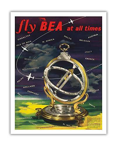 Pacifica Island Art Fly BEA at All Times - British European Airways - Universal Ring Dial - World Route Map - Vintage Airline Travel Poster c.1965 - Fine Art Print - 11in x 14in