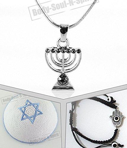 Lucky evil eye kit for Him Menora Necklace Jewish Bracelet kipa Cap - Gemstone Triple Lucky