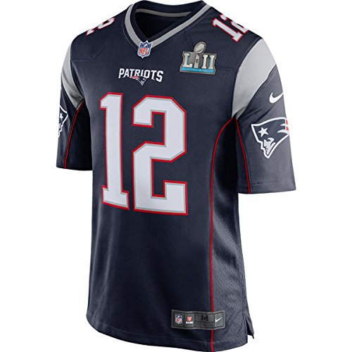 Tom Brady Unsigned New England Patriots Super Bowl LII 52 Blue Nike Jersey  Size L 3e053429e