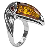 Amber Sterling Silver Toucan Ring