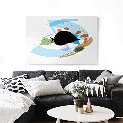 homehot Fish Canvas Print Wall Art Silhouette of a Discus Cichlid in a Partly Illustrated Bowl Cartoon in Pastel Colors Artwork for Wall Decor 24