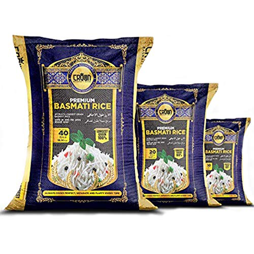 Premium Quality Crown White Basmati Rice - Organic White Aged Basmati Rice - 100% Authentic Extra Long Grain White Basmati Rice From the Foothills of Himalayas 10 lbs.
