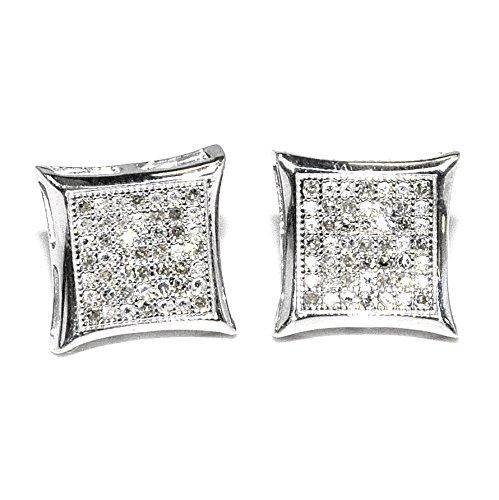 Big Diamond Earrings for Men 10.5mm Wide 0.23ct Pave Sterling Silver Screw Backs Kites