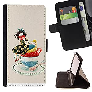 Jordan Colourful Shop - girl drawing porcelain art drawing For Apple Iphone 4 / 4S - Leather Case Absorci???¡¯???€????€????????