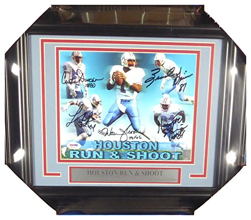 - Houston Oilers Run & Shoot Autographed Signed Framed 8x10 Photo HOF 06 With 5 Signatures Including Warren Moon - PSA/DNA Authentic
