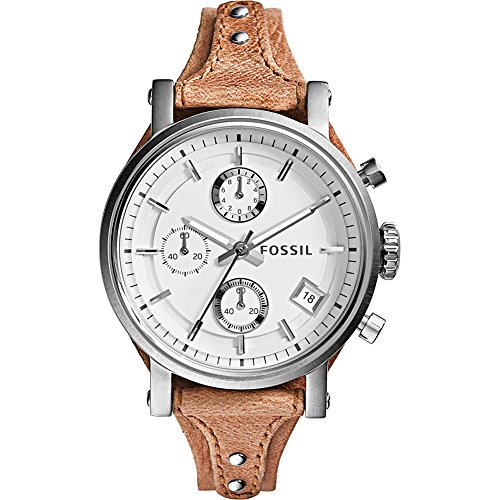 Fossil Womens Leather Dress Watch (Fossil Women's ES3625 Original Boyfriend Chronograph Stainless Steel Watch with Beige Leather)