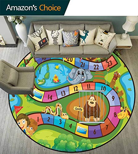 Kids Activity Round Rug Design,A Day in a Zoo Themed Cartoon Style Children and Exotic Animals Gorilla Lion Anti-Static,Multicolor,D-51