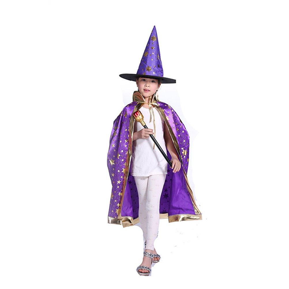 Tinksky Kinder Rollen Spiel Kostüme Hexe Umhang mit Hut Halloween Kleider Set (Lila)