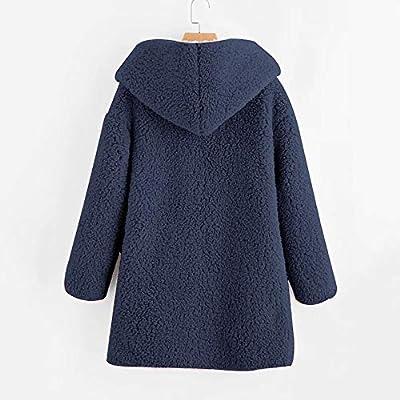 LINYIOU77 Womens Winter Fleece Fuzzy Faux Shearling Outwear Plus Size Long Sleeve Solid Thicken Warm Coat Jacket: Clothing