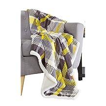 Bedford Home 61A-01652 Fleece Sherpa Blanket Throw, Plaid Yellow/Grey