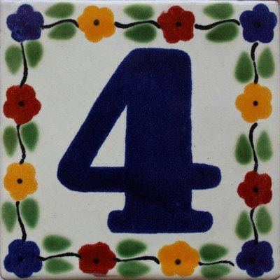 2 pcs Bouquet Talavera Tile Number Four