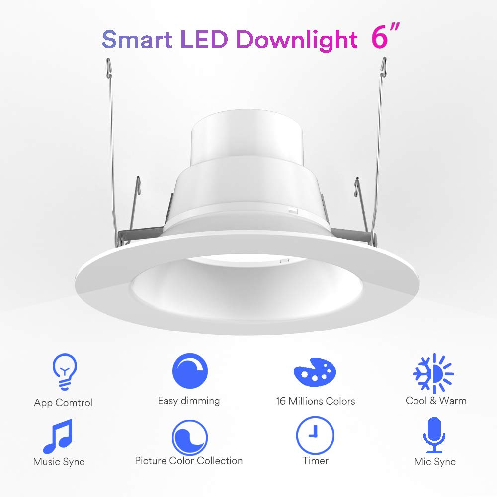 Ilintek Smart Led Downlight 6 Inches Ceiling Light Tech Services Mart Parts Washer Electrical Panel Controls Retrofit Rgbw 13w Recessed Lighting Fixture 2700k 6000k 1100 Lm Cr80 95 Full
