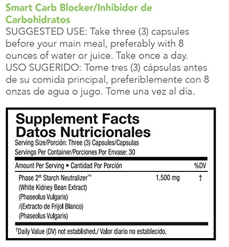 VitalStyle Natural Smart Carb Blocker - 1,500 mg of Pure White Kidney Bean Extract (Phase 2 Starch Neutralizer) Supports Weight Loss, Helps Control Blood Sugar and Supress Appetite - 90 Capsules by VitalStyle (Image #1)