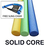 Oodles of Noodles 3 Pack 60 Inch x 2.75 Inch Extra Long Foam Noodle Multi-Purpose - Assorted Colors Bonus Sling Chair