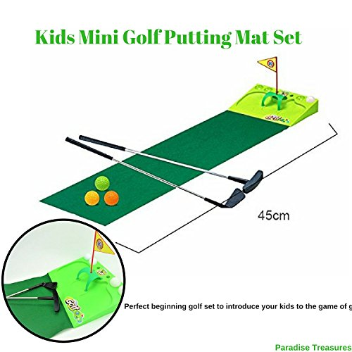 Kids Golf Set - Putting Mat Indoor and Outdoor Mini Golf for children-2 Metal golf clubs,4xGolf balls,Golf flag and - Green Club Golf Kids