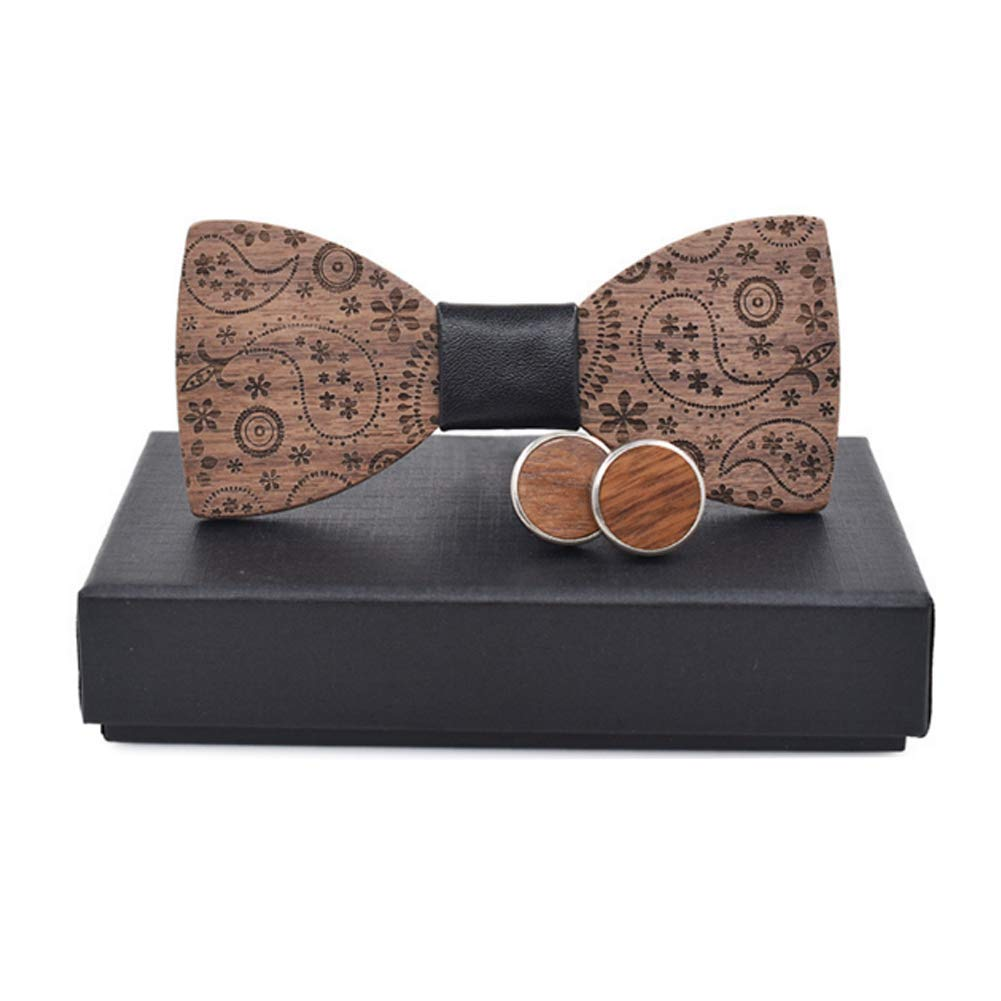 GESDY Mens Wooden Bow Tie Pocket Square Cufflinks Lapel Pin Sets Handmade Wood Pre-tied Bowties with Box