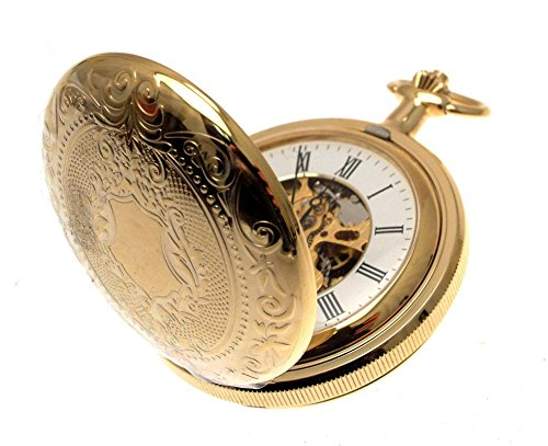 Relojes de bolsillo para hombre para hombre chapados en oro doble cazador relojes de bolsillo con cadena: Amazon.es: Relojes