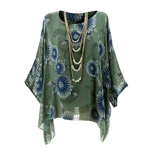 Pipistrello Top A T Stampa Con Green Floreale Irregolare Maniche Tunica shirt 0Sw84