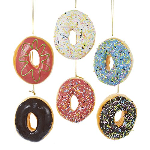 Simpsons Halloween Donut (Kurt Adler 4 Inch Set of 6 Assorted Donut Plastic Ornaments, Red, White,)