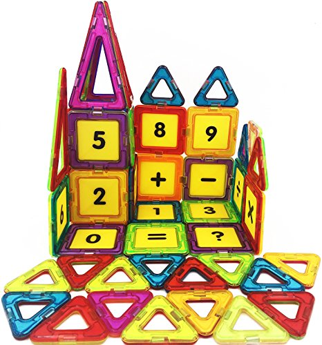 Building Squares (7TECH 61 PCS-Magnetic Tiles Toys Educational 3D Building Blocks Extra 16 Number Cards Included)